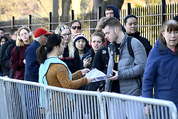 March 27, 2019 - Philadelphia, Pennsylvania, United States - Students, faculty and staff line up outside an emergency clinic at Temple University, in Philadelphia, PA on March 27, 2019 for immunization shots on after a hundred in the region were diagnosed with the mumps. The multi-campus public university is home to more than 40.000 students, as well as 4.000 academic staff. (Credit Image: © Bastiaan Slabbers/NurPhoto via ZUMA Press)