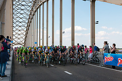 Peloton with Cannondale Pro Cycling Team (USA), Team Lotto NL - Jumbo (NED), Movistar Team (ESP) and Team Giant - Alpecin (GER) leading at the 2nd lap, 1200m before the finish on the Waalbridge at Nijmegen, stage 2 from Arnhem to Nijmegen running 190 km of the 99th Giro d'Italia (UCI WorldTour), The Netherlands, 7 May 2016. Photo by Pim Nijland / PelotonPhotos.com | All photos usage must carry mandatory copyright credit (Peloton Photos | Pim Nijland)