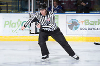 KELOWNA, CANADA - JANUARY 2:  Ward Pateman, linesman, skates on the ice as the Victoria Royals visit the Kelowna Rockets on January 2, 2013 at Prospera Place in Kelowna, British Columbia, Canada (Photo by Marissa Baecker/Shoot the Breeze) *** Local Caption ***