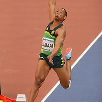 Rushwahl Samaai competes in the Long Jump at the IAAF World Indoor Championships, March 2, 2018