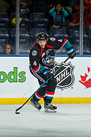 KELOWNA, CANADA - OCTOBER 3: Devin Steffler #4 of the Kelowna Rockets skates with the puck against the Vancouver Giants  on October 3, 2018 at Prospera Place in Kelowna, British Columbia, Canada.  (Photo by Marissa Baecker/Shoot the Breeze)  *** Local Caption ***