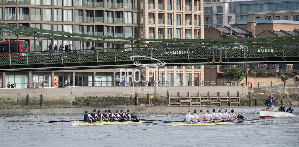 23 March 2019. Boat Race Fixture.  OUBC vs Leander BC.<br /> <br /> As preparation for the The Boat Races, Oxford and Cambridge clubs participate in a number of Fixtures against other clubs, rowing the same Tideway course as used for the Boat Race.<br /> <br /> OUBC Crew are wearing Dark Blue tops.