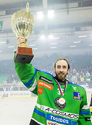 Oliver Roy of Olimpija celebrates after became Slovenian National Champion 2016 after winning during ice hockey match between HDD Telemach Olimpija and HDD SIJ Acroni Jesenice in Final of Slovenian League 2015/16, on April 11, 2016 in Hala Tivoli, Ljubljana, Slovenia. Photo by Vid Ponikvar / Sportida