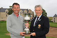 John White (Chairman Ulster Branch GUI) presents the trophy to Peter Sheehan (Ballybunion) after wining The Ulster Seniors Open Championship in Lough Erne Golf Club, Enniskillen, Co. Fermanagh on Tuesday 30th July 2019.<br /> <br /> Picture:  Thos Caffrey / www.golffile.ie<br /> <br /> All photos usage must carry mandatory copyright credit (© Golffile | Thos Caffrey)