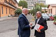 ROME, ITALY - SEPTEMBER 01: New vicar of Rome, Angelo De Donatis with  Simone Iannone General Secretary of Caritas of Rome during visit d the Citadel of the Charity of the Diocesan Caritas of Rome on September 1, 2017 in Rome, Italy.