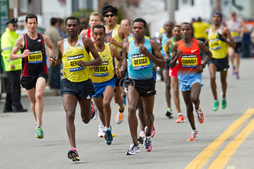 2013 Boston Marathon: Lilesa Desisa, Ethiopia, eventual winner, runs with lead group of elite men