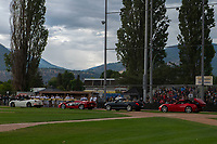 KELOWNA, CANADA - JUNE 28: Bat boys enter the field in luxury cars during the opening charity game of the Home Base Slo-Pitch Tournament fundraiser for the Kelowna General Hospital Foundation JoeAnna's House on June 28, 2019 at Elk's Stadium in Kelowna, British Columbia, Canada.  (Photo by Marissa Baecker/Shoot the Breeze)