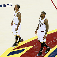 10 June 2016: Cleveland Cavaliers guard J.R. Smith (5) is seen next to Cleveland Cavaliers forward LeBron James (23) during the Golden State Warriors 108-97 victory over the Cleveland Cavaliers, during Game Four of the 2016 NBA Finals at the Quicken Loans Arena, Cleveland, Ohio, USA.