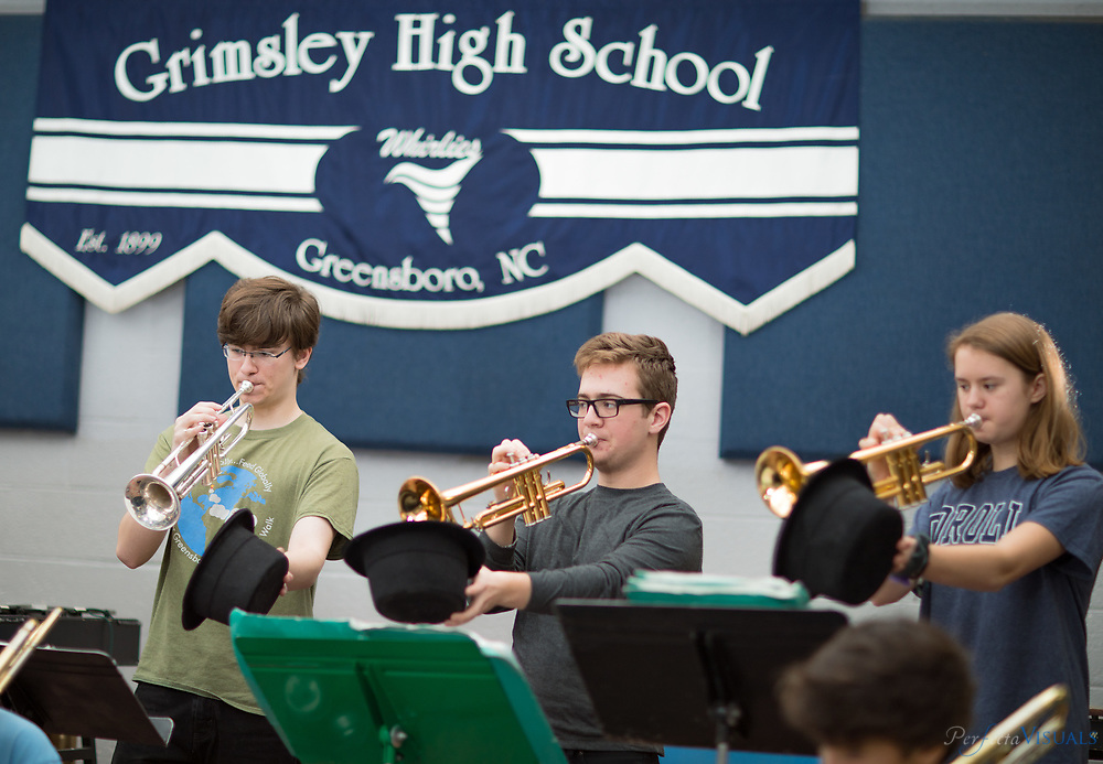 Grimsley High School jazz band class.<br /> <br /> Photographed, Thursday, February 15, 2018, in Greensboro, N.C. JERRY WOLFORD and SCOTT MUTHERSBAUGH / Perfecta Visuals