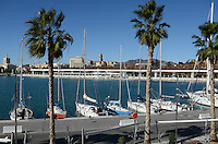 Yachts moored at new marina, Malaga, Andalusia, Spain, December, 2013, 201312203057<br />
