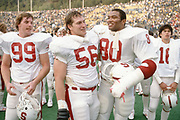 COLLEGE FOOTBALL:  Stanford vs Cal in the annual Big Game on November 17, 1984 at Memorial Stadium in Berkeley, California.  Garin Veris #80.  Photography by David Madison (www.davidmadison.com).