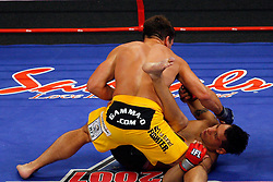 August 2, 2007; East Rutherford, NJ, USA; The Silverbacks Rory Markham (Yellow Trunks) knocks out the Anacondas Chris Clements during the first round of their IFL 170lb semifinal bout at the Continental Airlines Arena in East Rutherford, NJ.