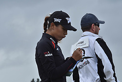October 1, 2017 - Auckland, Auckland, New Zealand - New Zealand's Lydia Ko writes her scorebook during final round of the MCKAYSON New Zealand Women's Open at Windross Farm in Auckland, New Zealand on Oct1, 2017. Featuring World Number One Lydia Ko,TheMCKAYSONNew Zealand Women's Open is the first ever LPGA Tour event to be played in New Zealand. (Credit Image: © Shirley Kwok/Pacific Press via ZUMA Wire)