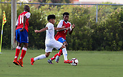 Team USA forward Osvaldo Reyes (7) prepares to pass the ball during a CONCACAF boys under-15 championship soccer game, Sunday, Aug. 4, 2019, in Bradenton, Fla. The USA defeated Haiti 2-0 (Kim Hukari/Image of Sport)