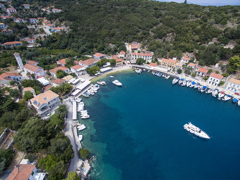 Aerial Drone images of Kioni port village in Ithaca island, Greece