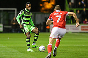 Forest Green Rovers Dale Bennett(2) takes on Swindon Town's Paul Mullin(7) during the EFL Sky Bet League 2 match between Forest Green Rovers and Swindon Town at the New Lawn, Forest Green, United Kingdom on 22 September 2017. Photo by Shane Healey.