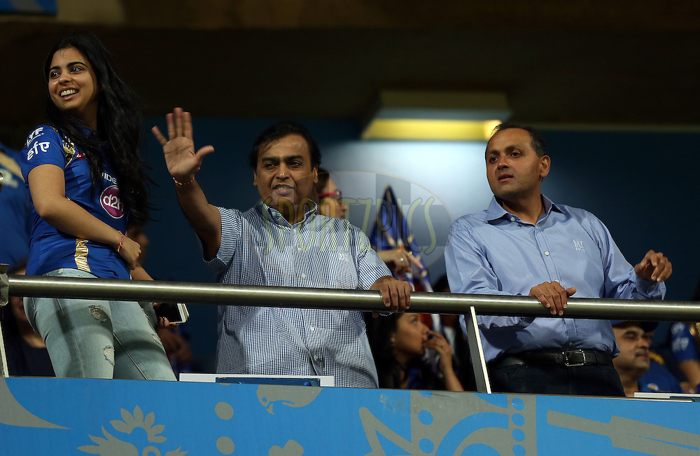Mukesh Ambani owner of Mumbai Indians (C) during match 1 of the Vivo Indian Premier League ( IPL ) 2016 between the Mumbai Indians and the Rising Pune Supergiants held at the Wankhede Stadium in Mumbai on the 9th April 2016<br /> <br /> Photo by Sandeep Shetty/ IPL/ SPORTZPICS