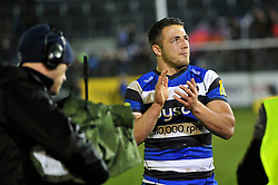 Sam Burgess of Bath Rugby shows his appreciation to the crowd after making his rugby union debut - Photo mandatory by-line: Patrick Khachfe/JMP - Mobile: 07966 386802 28/11/2014 - SPORT - RUGBY UNION - Bath - The Recreation Ground - Bath Rugby v Harlequins - Aviva Premiership