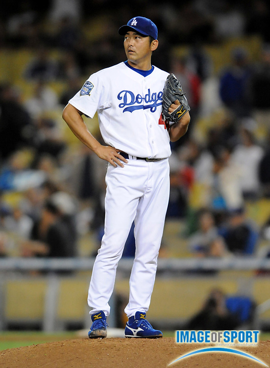 Apr 14, 2008; Los Angeles, CA, USA; Los Angeles Dodgers reliever Takashi Saito (44) reacts after surrendering a three-run home run to Pittsburgh Pirates center fielder Nate McLouth (not pictured) in the ninth inning at Dodger Stadium.