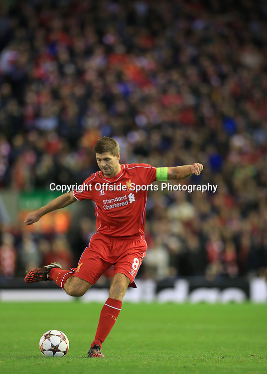 22nd October 2014 - UEFA Champions League - Group B - Liverpool v Real Madrid - Steven Gerrard of Liverpool - Photo: Simon Stacpoole / Offside.