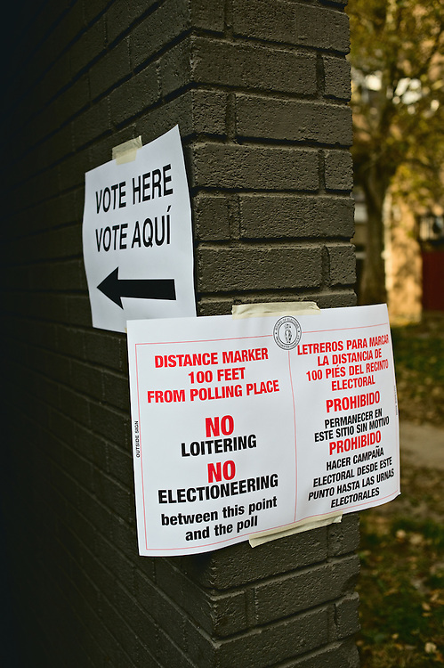 Sign outside polling place warning against campaigning within 100 feet, Yonkers, New York, US.