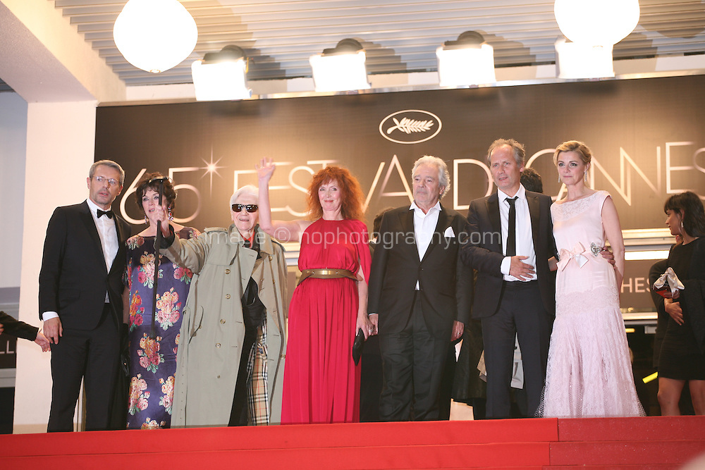 The cast and director Alain Resnais, leaving the Vous N'Avez Encore Rien Vu gala screening at the 65th Cannes Film Festival France. Monday 21st May 2012 in Cannes Film Festival, France.