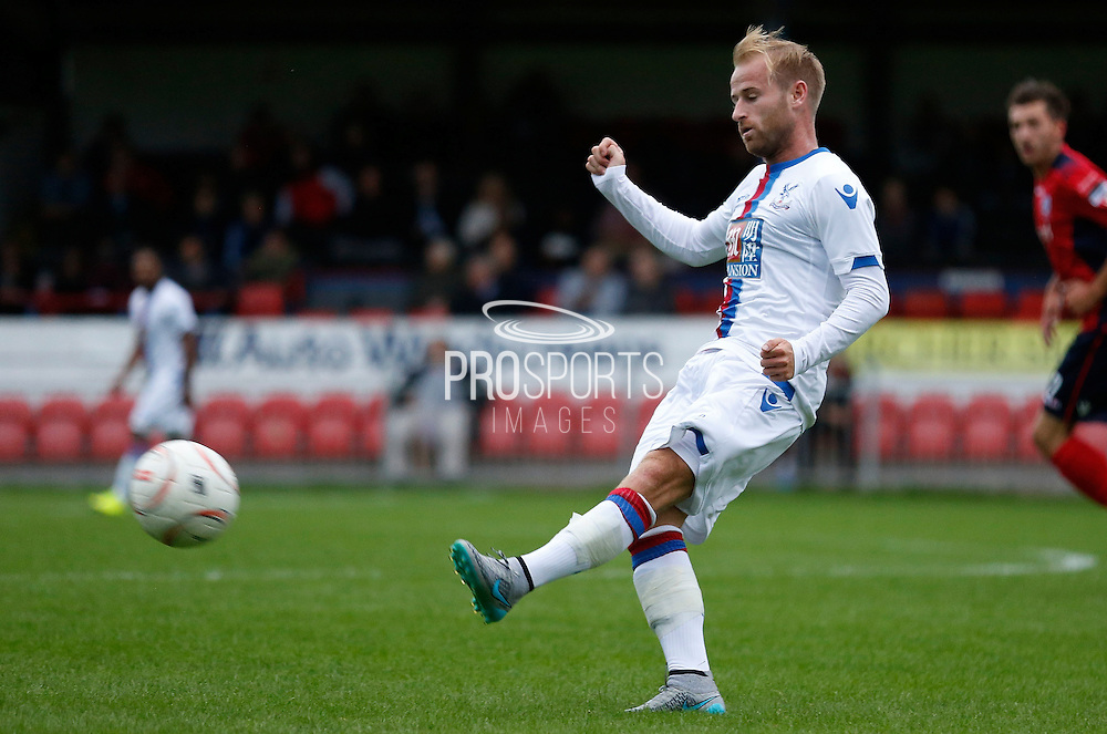 Barry Bannan playing a ball forward during the Pre-Season Friendly match between Hampton & Richmond and Crystal Palace at Beveree Stadium, Richmond Upon Thames, United Kingdom on 27 July 2015. Photo by Michael Hulf.