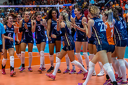 06-06-2018 NED: Volleyball Nations League Netherlands - Italy, Rotterdam<br /> Italy wins with 3-2 / Maret Balkestein-Grothues #6 of Netherlands, Femke Stoltenborg #2 of Netherlands, Yvon Belien #3 of Netherlands, Celeste Plak #4 of Netherlands, Lonneke Sloetjes #10 of Netherlands