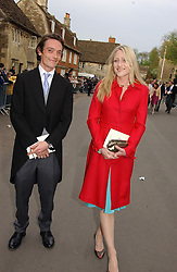 The EARL OF LITCHFIELD and his sister LADY ROSE ANSON at the wedding of Laura Parker Bowles to Harry Lopes held at Lacock, Wiltshire on 6th May 2006.<br />