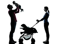 parents with baby in silhouettes on white background