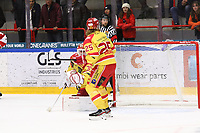 2019-10-02 | Ljungby, Sweden: Kalmar HC (35) Andreas Henriksson and Kalmar HC (25) Eric Backman during the game between IF Troja / Ljungby and Kalmar HC at Ljungby Arena ( Photo by: Fredrik Sten | Swe Press Photo )<br /> <br /> Keywords: Ljungby, Icehockey, HockeyEttan, Ljungby Arena, IF Troja / Ljungby, Kalmar HC, fstk191002, ATG HockeyEttan