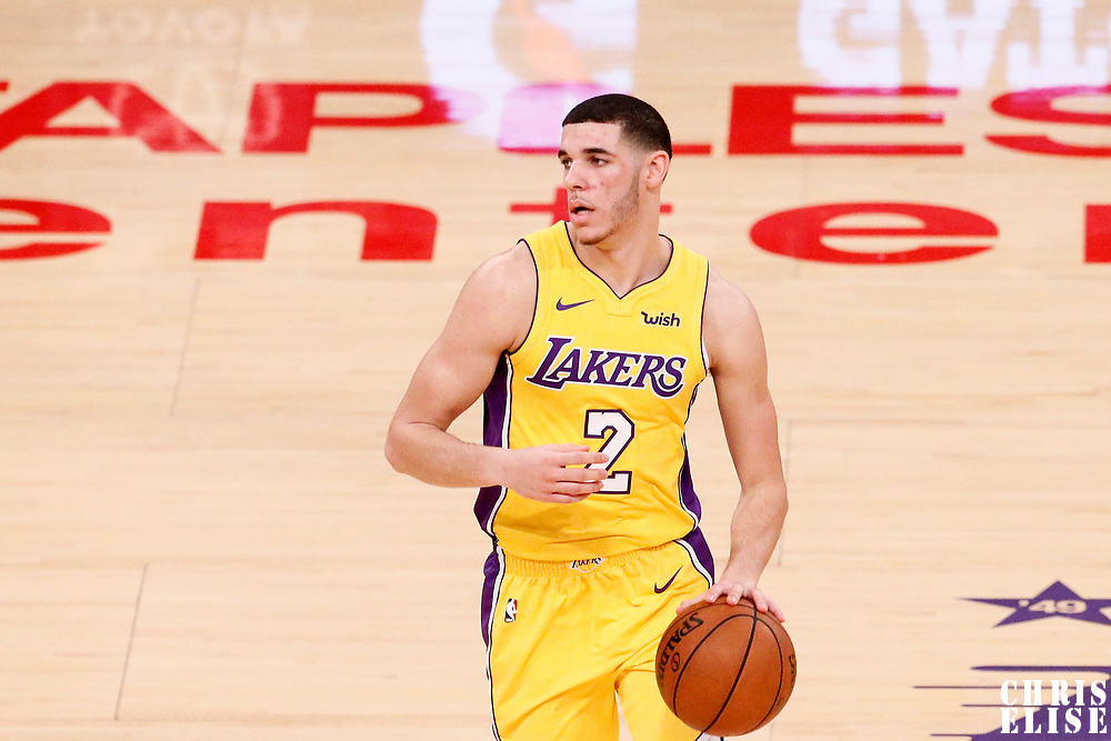 21 November 2017: Los Angeles Lakers guard Lonzo Ball (2) dribbles during the LA Lakers 103-94 victory over the Chicago Bulls, at the Staples Center, Los Angeles, California, USA.