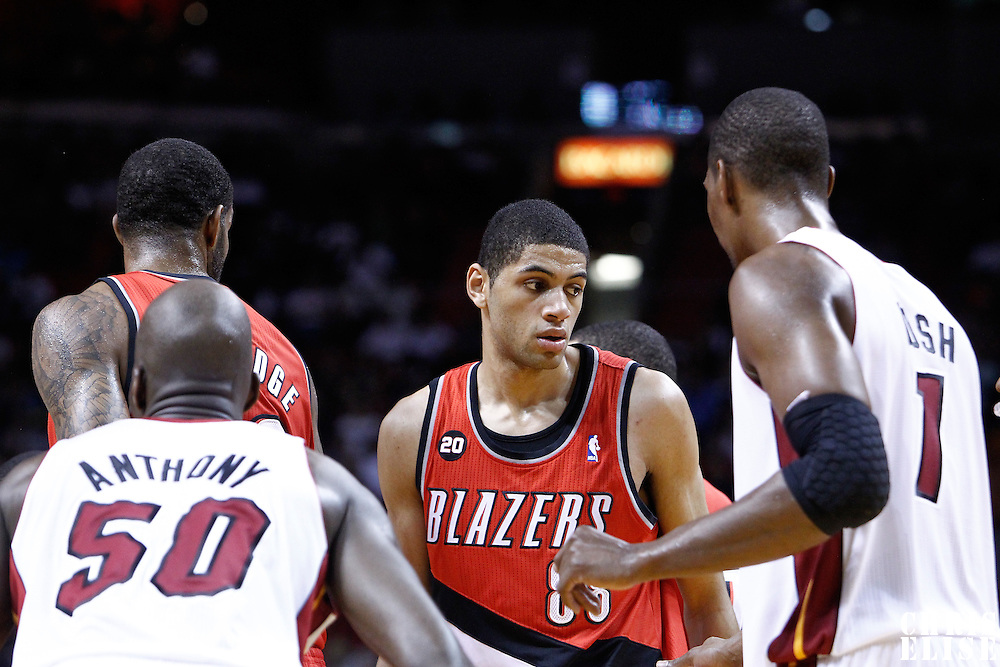 08 March 2011: Portland Trail Blazers small forward Nicolas Batum (88) is seen during the Portland Trail Blazers 105-96 victory over the Miami Heat at the AmericanAirlines Arena, Miami, Florida, USA.