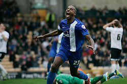 Peterborough United's Tyrone Barnett celebrates - Photo mandatory by-line: Joe Dent/JMP - Tel: Mobile: 07966 386802 12/10/2013 - SPORT - FOOTBALL - Vale Park - Stoke-on-Trent - Port Vale V Peterborough United - Sky Bet League 1