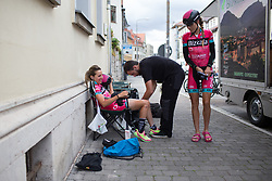 Lorena Llamas (ESP) of Bizkaia-Durango Cycling Team prepares for Stage 3 of the Lotto Thuringen Ladies Tour - a 124 km road race, starting and finishing in Weimar on July 15, 2017, in Thuringen, Germany. (Photo by Balint Hamvas/Velofocus.com)