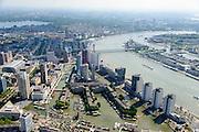 Nederland, Zuid-Holland, Rotterdam, 10-06-2015; Stadsdriehoek met Leuvehaven, gezien naar het Noordereiland en Feijenoord. Aan de oever van de Nieuwe Maas de Boompjes met kantoorflats. In het water historische schepen van het Buitenmuseum van het Havenmuseum,  Maritiem Museum op de hoek van Schiedamsedijk en Blaak.<br /> City centre Rotterdam with old harbour with historical boats. Rotterdam South at the horizon<br /> luchtfoto (toeslag op standard tarieven);<br /> aerial photo (additional fee required);<br /> copyright foto/photo Siebe Swart