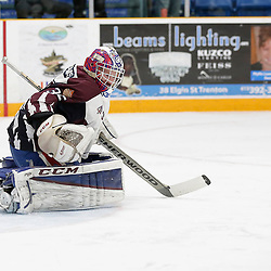 "TRENTON, ON  - MAY 4,  2017: Canadian Junior Hockey League, Central Canadian Jr. ""A"" Championship. The Dudley Hewitt Cup. Game 6 between the Trenton Golden Hawks and The Dryden GM Ice Dogs.  Ben Dennis #35 of the Dryden GM Ice Dogs  makes the save <br /> (Photo by Amy Deroche / OJHL Images)"