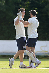 Adrian Jarvis of Bristol Rugby celebrates with Craig Hampson during an exhibition cricket game with Bishopston Cricket Club - Photo mandatory by-line: Dougie Allward/JMP - Mobile: 07966 386802 - 29/07/2015 - SPORT - Cricket - Bristol - Westbury Fields - Bishopston CC v Bristol Rugby - Exhibition Game