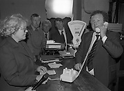 Opening of Automatic Telephone Exchanges, Aran Mor..1980-06-20.20th June 1980.20/06/1980.06-20-80..Minister of State at the Department of Posts and Telegraphs, Mark Killilea, opens the new automatic exchange at Kilronan on Inismore. The Minister is making is making the first automatic call to the postmistress's relations in the United States. ..Máire Bn. Nic Giolla Phádraig, Postmistress Kilronan, looks on.