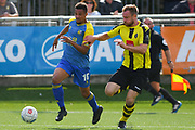 Jermaine Hylton of Solihull Moors (10) attacks with the ball during the Vanarama National League match between Harrogate Town and Solihull Moors at Wetherby Road, Harrogate, United Kingdom on 25 August 2018.