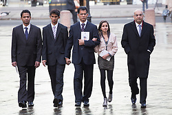 © licensed to London News Pictures. London, UK. 15/12/2012. The son Junal (second left), husband Ben Barboza (centre) and The daughter Lisha (second right),   of nurse Jacinta Saldanha arrive at Westminster Cathedral in London to attend a memorial service with Keith Vaz (right) held for Jacinta Saldanha who committed suicide. Photo credit: Tolga Akmen/LNP
