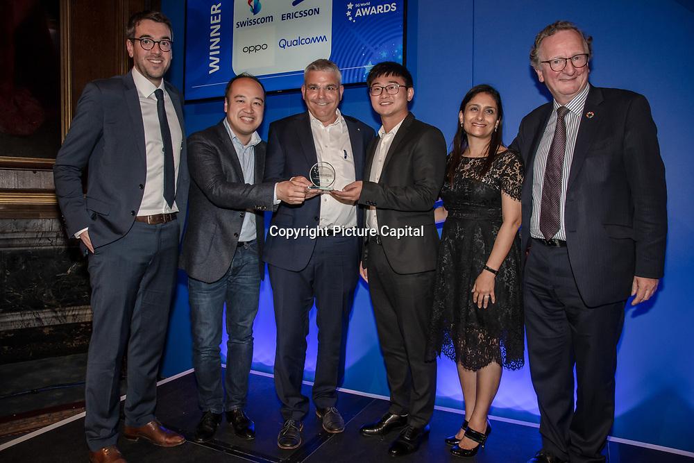 Swisscom, Ericson, Oppo and Qualcomm winner of the Best 5G Network Development in Europe of the 5G Awards ceremony at Drapers' Hall, on 12 June 2019, London, UK.