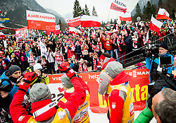 Fans of Team Poland celebrate after the Ski Flying Hill Men's Individual Competition at Day 4 of FIS Ski Jumping World Cup Final 2017, on March 26, 2017 in Planica, Slovenia. Photo by Vid Ponikvar / Sportida