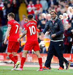 Philippe Coutinho of Liverpool celebrates with Liverpool manager Jurgen Klopp - Mandatory by-line: Matt McNulty/JMP - 23/04/2017 - FOOTBALL - Anfield - Liverpool, England - Liverpool v Crystal Palace - Premier League