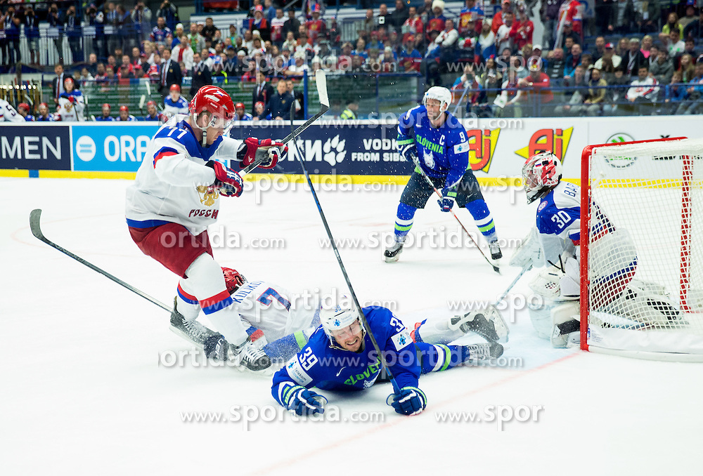 Anton Belov of Russia, Dmitri Kulikov of Russia, Jan Mursak of Slovenia and Konstantin Barulin of Russia during Ice Hockey match between Russia and Slovenia at Day 3 in Group B of 2015 IIHF World Championship, on May 3, 2015 in CEZ Arena, Ostrava, Czech Republic. Photo by Vid Ponikvar / Sportida