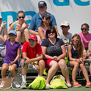 August 16, 2014, New Haven, CT:<br /> Fans ask questions during a tennis clinic in the AETNA FitZone as part of Kids Day on day three of the 2014 Connecticut Open at the Yale University Tennis Center in New Haven, Connecticut Sunday, August 17, 2014.<br /> (Photo by Billie Weiss/Connecticut Open)