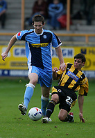Photo: Pete Lorence.<br />Boston United v Wycombe Wanderers. Coca Cola League 2. 28/10/2006.<br />Daniel Cotton slides in on Mike Williamson.