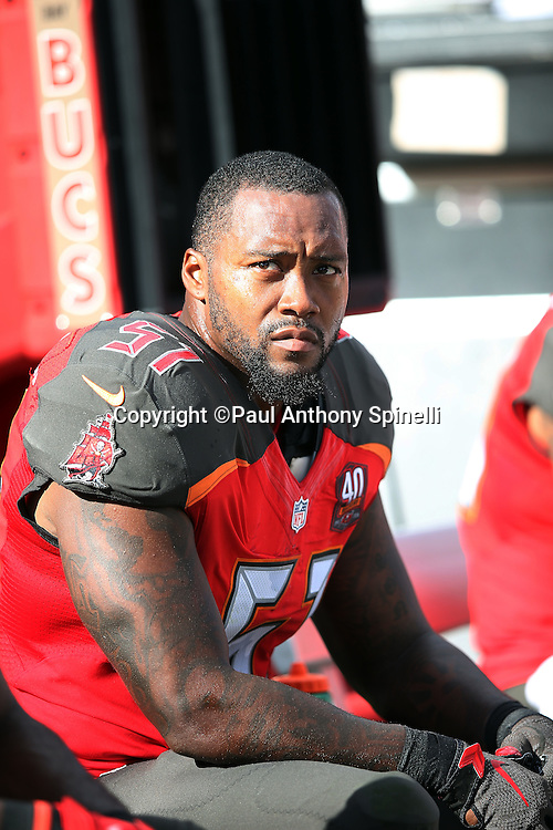 Tampa Bay Buccaneers outside linebacker Danny Lansanah (51) looks on from the sideline bench during the 2015 week 14 regular season NFL football game against the New Orleans Saints on Sunday, Dec. 13, 2015 in Tampa, Fla. The Saints won the game 24-17. (©Paul Anthony Spinelli)