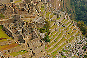 Ruins of the lost city of the Inca empire:  Machu Picchu. Located in the region of Cusco in Peru.