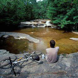 Mountain Biking. Swift River.   White Mountain N.F.  Summer.  Sawyer River Trail, NH